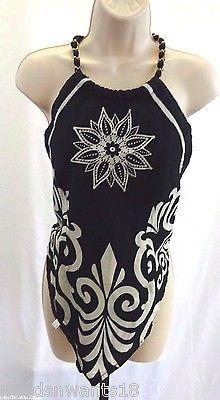 Fashion Web Bandana Halter Top Black & White Gold Backless Womens Juniors Sz M | eBay