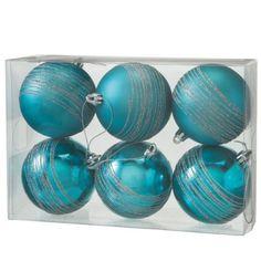 Medium Turquoise Ball Ornament Set of 6