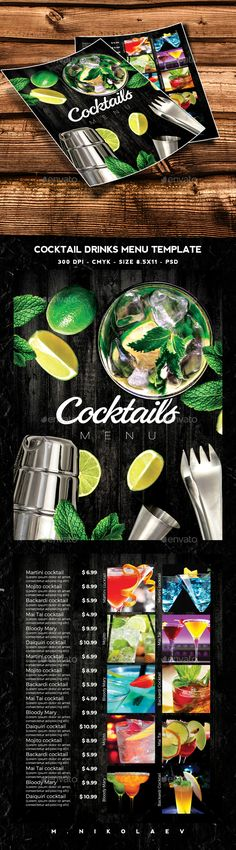 Buy Cocktails Drinks Menu by MaksN on GraphicRiver. File info: Flyer Name: Cocktails Drinks Menu Size: Letter with bleed Mode: CMYK Files included: 1 PSD. Drink Menu Design, Restaurant Menu Design, Food Design, Food Menu Template, Menu Templates, Print Templates, Menu Flyer, Menu Book, Pub Food