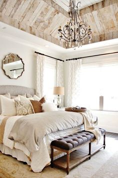 Neutral country bedroom decor via Joanna Gaines