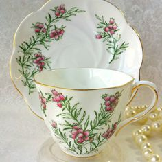SALISBURY Pink Floral Bone China Vintage Tea Cup by HoneyandBumble