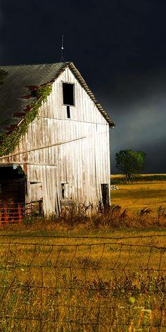 sunshine on a barn against a very dark sky