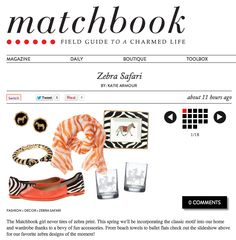 Thank you @Matchbook Magazine for including us in your oh so Swell Zebra Safari!  xo http://www.matchbookmag.com/daily/22-zebra-safari