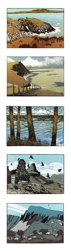 Cards for purchase. Linocut prints by Ian Phillips. http://www.reliefprint.co.uk/ Tags: Linocut, Cut, Print, Linoleum, Lino, Carving, Block, Woodcut, Helen Elstone, Wales, Welsh, Cymru, Landscape, Sea, Rocks, Sky, Clouds, Hill, Trees, Birds, Mountain.