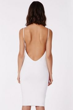 Between the Lines #White #Sexy Womens #Spaghetti #Strap #Backless #Sleeveless #Midi #Dress