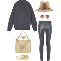 """GOLD AND GREY"" by martab on Polyvore"