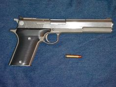 Automag III .30 Carbine Pistol made by Irwindale Arms, Inc. with .30 Carbine cartridge