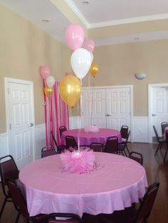 From my daughter baby shower. Princess themed. I made the tutu/tiara center pieces.