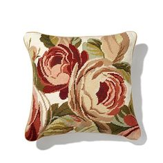 Clever Carriage Desert Rose Hand Needlepoint Pillow