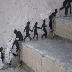 stencils on stairs