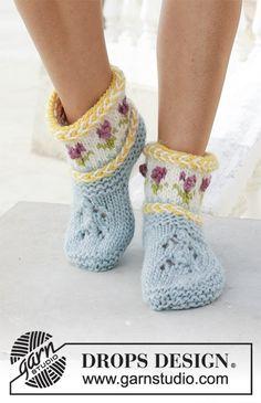 Ponožky – papučky s litevským copánkem a norským vzorem pletené z příze DROPS Eskimo. Velikost 35 - 43.