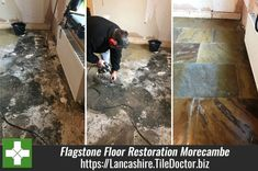 Late last year I was asked to survey a Flagstone floor in Morecambe which appeared to be beyond restoration. The floor had a long history and at some point in its past was covered with carpet which had been secured onto self-levelling cement with bitumen. Lancashire.tiledoctor.biz/old-bitumen-covered-flagstone-floor-restored-in-morecambe
