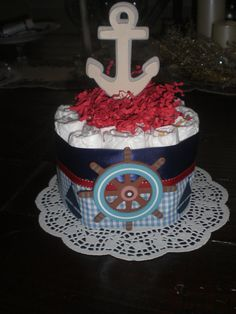 Nautical Diaper Cake Baby Shower by bearbottomdiapercakes on Etsy