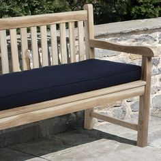 Enjoy the great outdoors in style with this 60-inch-long navy bench cushion. The Sunbrella fabric is stain and mildew resistant, keeping this cushion clean. This removable cushion features furniture ties as well as tonal corded trim.