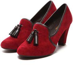 chunly heel tassel pumps / shopstyle (ショップスタイル): Mio Notis タッセル甲深パンプス
