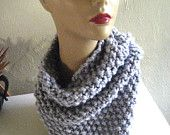 Light Grey Chunky Cowl with Burgundy Buttons