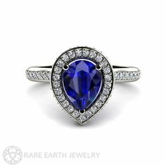 Blue Sapphire Engagement Ring Pear Halo Diamond by RareEarth