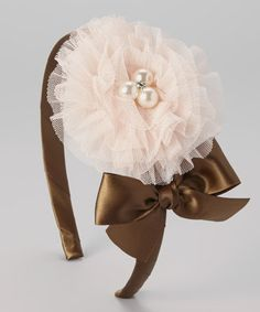 Loving this Brown Bow & Pearl Flower Headband on #zulily! #zulilyfinds
