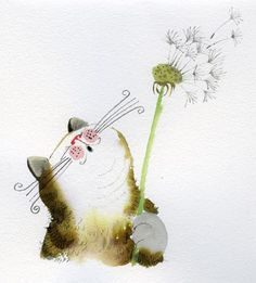 Sweet kitty cat blowing on a Dandelion! You think she's making a wish? ; )