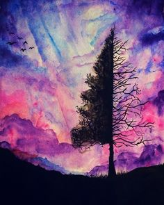 Watercolor Galaxy painting by me: RoseValor #watercolor #watercolorgalaxy #tree $20 Insta: яσѕє_ναℓσя Fb: Rose Valor