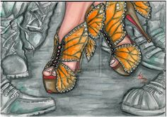 the 7 deadly sins -ENVY by on DeviantArt Fashion Design Drawings, Fashion Sketches, Sexy Clown Costume, Butterfly Heels, Monarch Butterfly, Fashion Illustration Shoes, Fashion Art, Fashion Shoes, Dress Sketches