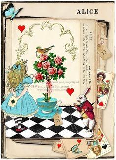 Evil Alice in Wonderland Art   Alice in Wonderland Art Print Alice's Book Aceo by CafeBaudelaire