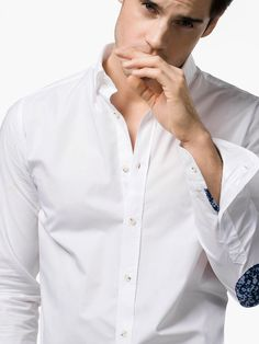 SLIM-FIT TEXTURED SHIRT WITH ELBOW PATCHES