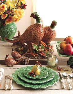Charles Sadek Double Pheasant Centerpiece: Andrea by Sadek Pumpkin Tureen.  Ready to be displayed year after year, this grand pheasant centerpiece is handpainted ceramic in wonderful detail and color!  Shown also is matching salt and pepper set.  Sorry, the salt/pepper set is discontinued!