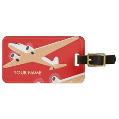 Vintage Travel Luggage Tag Red