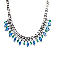 "SIMONE NECKLACE - You'll light up the night in the blue and green sparkle of Simone. We love Simone's combination of smoky hematite against bright, alternating circular and marquis- shaped crystals. This edgy piece will transition seamlessly from day to night. Pair with dark duster earrings for add drama.  - Hematite link chain, crystals - 15 1/2"" long, 3"" extender - Lobster clasp closure $54.00 www.michell.kitsylane.com"