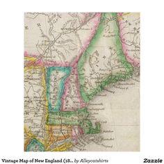 Vintage Map of New England (1822) Fleece Blanket