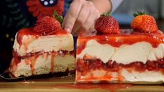 Recipe with video instructions: Creamy white chocolate makes a classic strawberry dessert even more irresistible. Ingredients: 600g cream cheese, 50g sugar, 300g cream, 300g melted white chocolate, 320g strawberry jam, 300g fresh strawberries (150g chopped and 150g whole), 100g ladyfinger cookies
