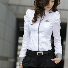 Free shipping - Sexy OL Women Fashion Shrug Bubble Long Sleeve Slim Cotton Shirt Blouse Top