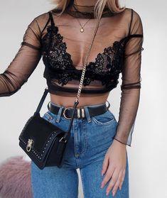 Lingerie look - Aixa Calpe - - Look de lingerie Lingerie look - Look Fashion, 90s Fashion, Fashion Models, Fashion Outfits, Womens Fashion, Fashion Tips, Fashion Trends, Fashion Design, Concert Fashion