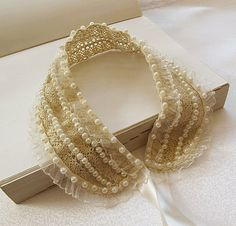 newPearl embroidery Lace collarfaux collarspeter by aynurdereli, $20.00