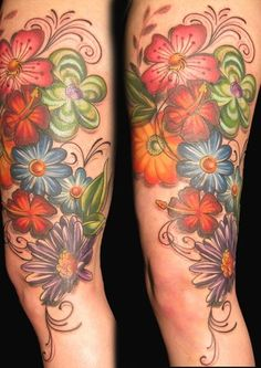 Tattoos - kristel oreto - marie's huge flower cover up tattoo flower t Flower Cover Up Tattoos, Skull Tattoo Flowers, Colorful Flower Tattoo, Flower Tattoo Foot, Flower Tattoo Shoulder, Skull Tattoos, Rose Tattoos, Tattoo Designs Foot, Flower Tattoo Designs