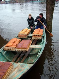 bread delivery, flood russia by irina. People Around The World, Around The Worlds, World Street, Best Party Food, Our Daily Bread, Chocolate Shop, Working People, Great View, Foodie Travel
