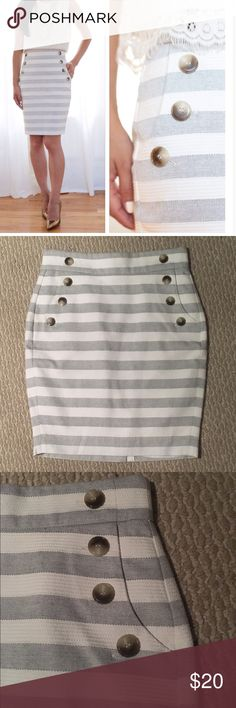 Grey & White Striped tailored pencil skirt In like new condition. High waist, button trim, back zip, true pockets. Color is antique white and light gray. LOFT Skirts