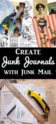 Junk Mail for Junk Journals! Repurpose Junk Mail for Junk Journals! Fun craft technique with Heather Tracy for The Graphics Fairy.Repurpose Junk Mail for Junk Journals! Fun craft technique with Heather Tracy for The Graphics Fairy. Fun Crafts, Diy And Crafts, Paper Crafts, Bujo, Decoupage, Easy Homemade Gifts, Diy Blanket Ladder, Junk Mail, Graphics Fairy