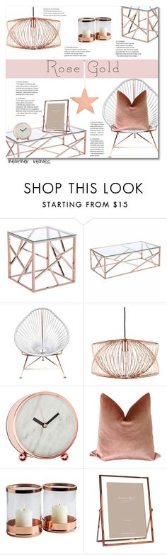 """Rose Gold"" by heather-reaves ❤ liked on Polyvore featuring interior, interiors, interior design, home, home decor, interior decorating, Zuo, Innit, Nuevo and Interlude"