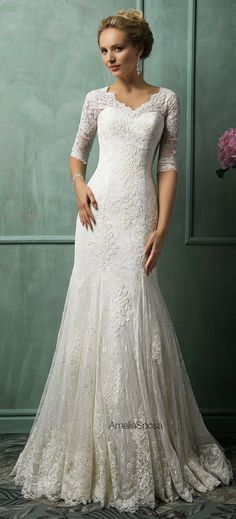 Amelia Sposa 2014 Wedding Dresses - Belle The Magazine - Modest wedding dresses don't have to be frumpy! Amelia Sposa 2014 Wedding Dresses – Belle the M - Wedding Dresses 2014, Wedding Attire, Wedding Dress Styles, Bridal Dresses, Bridesmaid Dresses, Dress Wedding, Wedding Lace, Trendy Wedding, Celtic Wedding