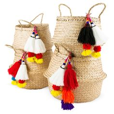 Tassel Basket - Great for stylish storage in a small space