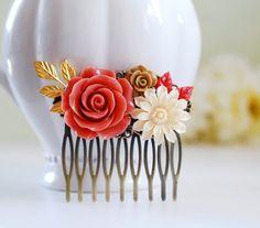 Coral Orange Wedding Hair Comb, Bridal Hair Comb. Vintage Coral Leaf Ivory Dahlia Cabochon, Orange Rose, Gold Leaf Hair Comb by LeChaim on Etsy