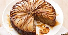 Drizzled with sticky sweet butterscotch sauce, this spiced pear cake drips of decadence.