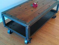 Vintage Industrial Coffee Table. Modern Industrial, Rustic, Retro, Urban, Mid Century Modern Design Furniture. $650.00, via Etsy.