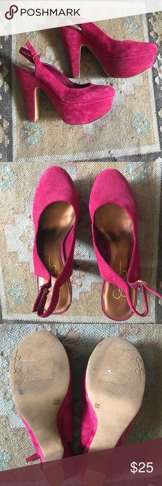 Jessica Simpson hot pink suede heels Super comfortable Jessica Simpson heels hot pink suede Jessica Simpson Shoes Heels