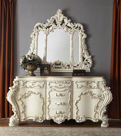 White 6 Drawer Dresser, Rustic Dresser, Sleigh Bedroom Set, King Bedroom Sets, Traditional Dressers, Cal King Bedding, California King Bedding, King Beds, Luxurious Bedrooms