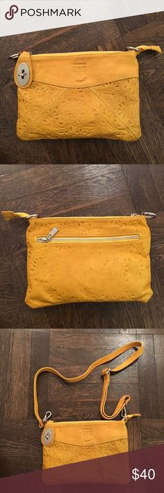 Authentic Italian Leather Yellow Crossbody Authentic embellished leather bag from Italian leather shop. Purchased in Cinque Terre, Italy last summer from a leather maker. Comes with detachable strap and can be worn as a clutch or crossbody. Worn only a few times and in excellent condition. Zara Bags Crossbody Bags