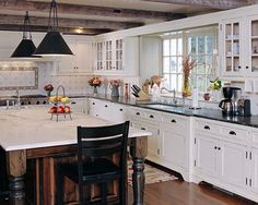 white and cherry kitchen cabinets - Google Search