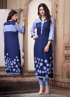 Stylish Blue Rayon Cotton Designer Kurti